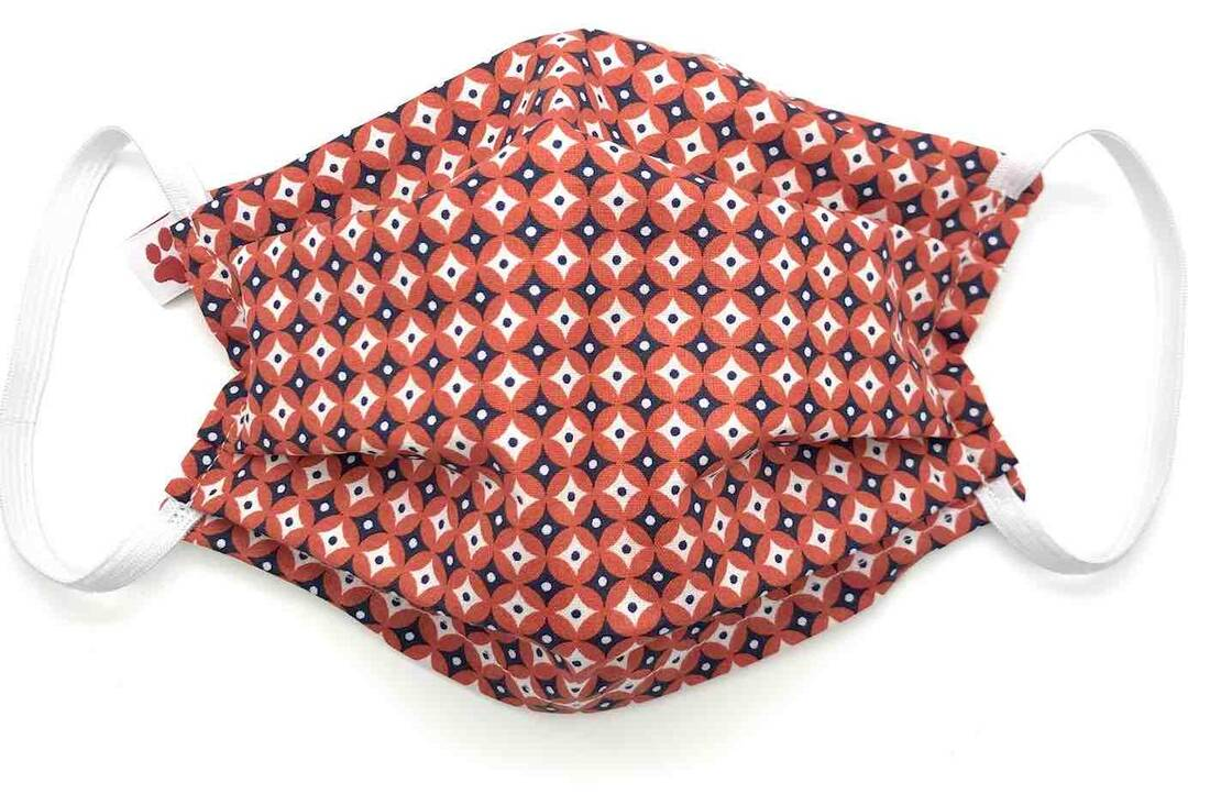 Cotton Face Mask - Iska Red - Flax & Stitch